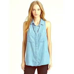 Anthro | Sleeveless Chambray Top
